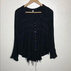 Free People Frayed Half Button Top